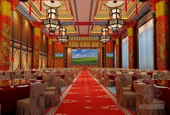 [江西]高档次一流特色中式风情四星级酒店装修方案图宴会厅效果图