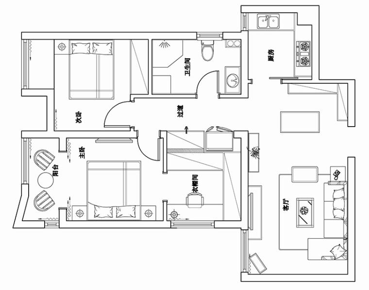 天地湾三房改两居装修效果图养老房的收纳柜_5