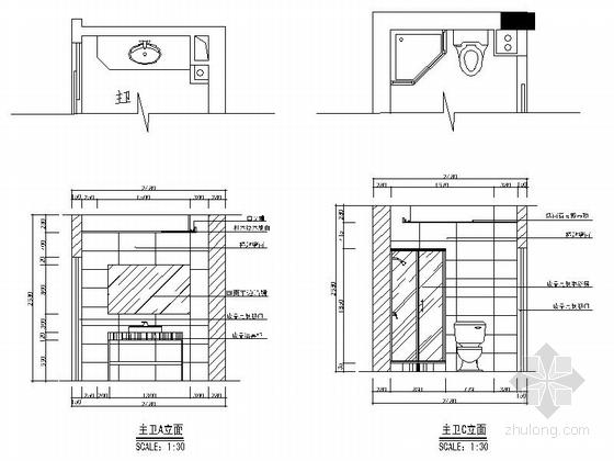 一小套经典三居室家装施工图主卫立面图