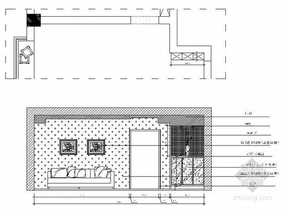 [浙江]海滨公园现代高档两居室装修施工图客厅立面图