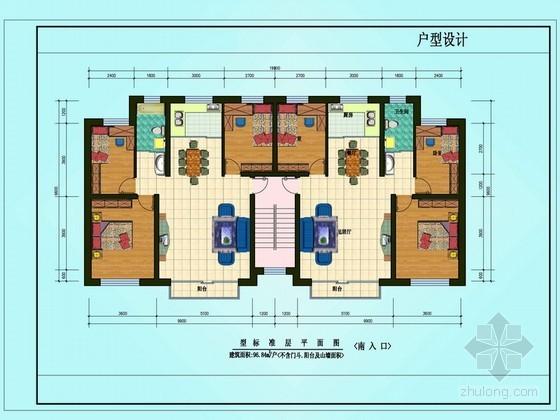 三室两厅一卫户型图(96.84)