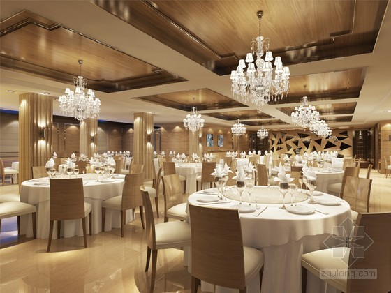 现代中餐厅装修3d模型下载