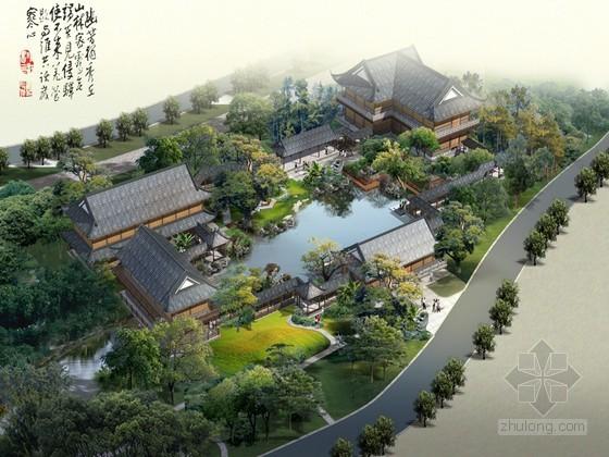中国园林仿古建筑景观鸟瞰图psd