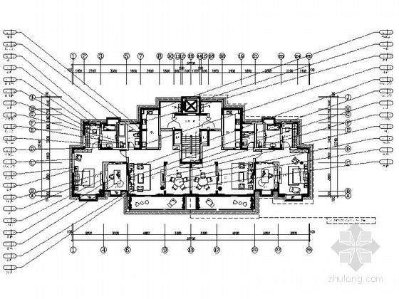[西安]中式风格两居室装修施工图