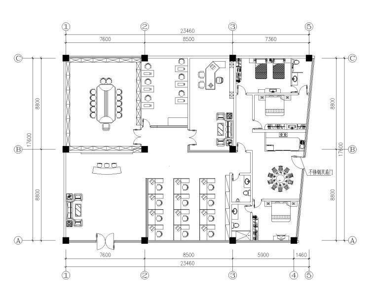 某办公室精装修装饰设计施工图纸(CAD)