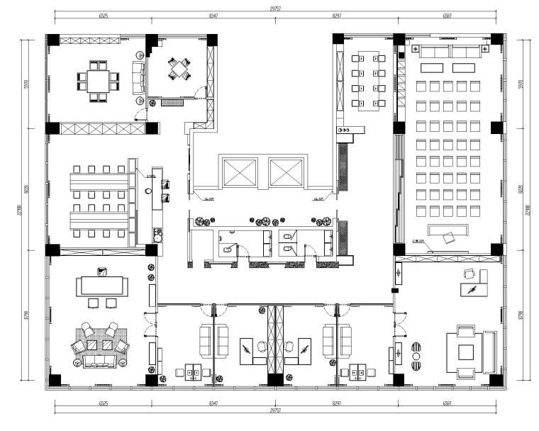 [山东]混搭--黄海城市花园七层办公平面装修施工图+效果图