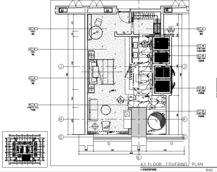 中山希尔顿酒店设计施工图(附效果图)-地坪饰面图