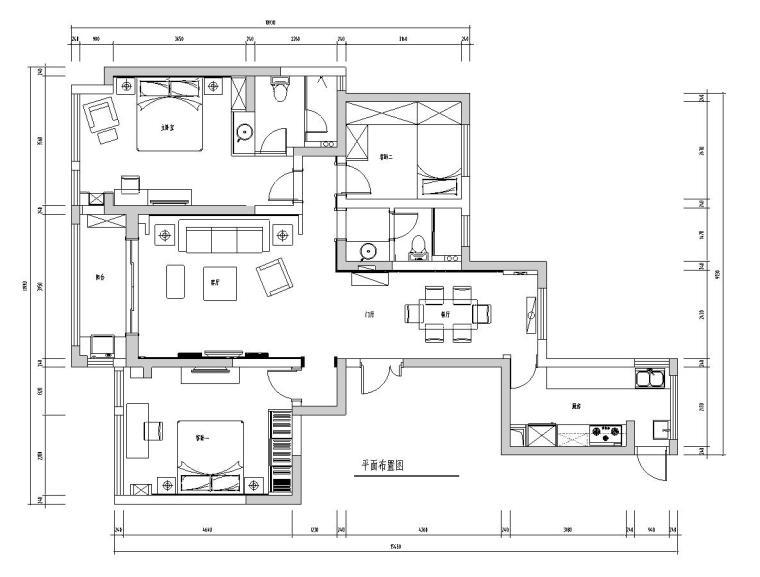 [江苏]常熟世贸五期三房两厅公寓房室内施工图设计