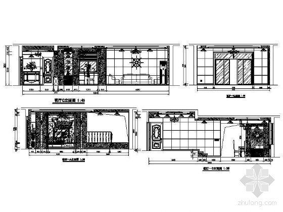 欧式客厅立面设计图