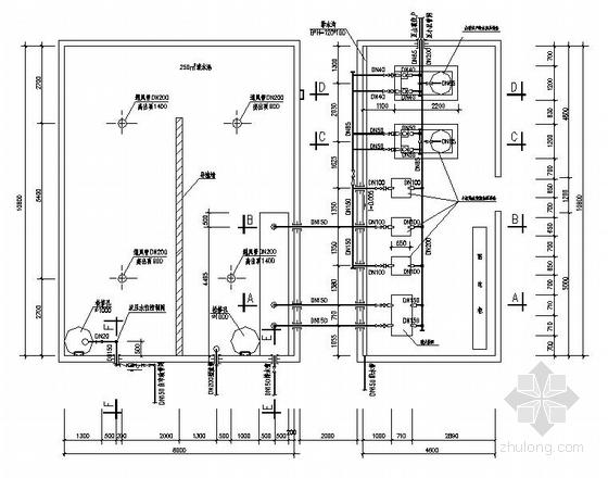 某小区给水泵房平剖图