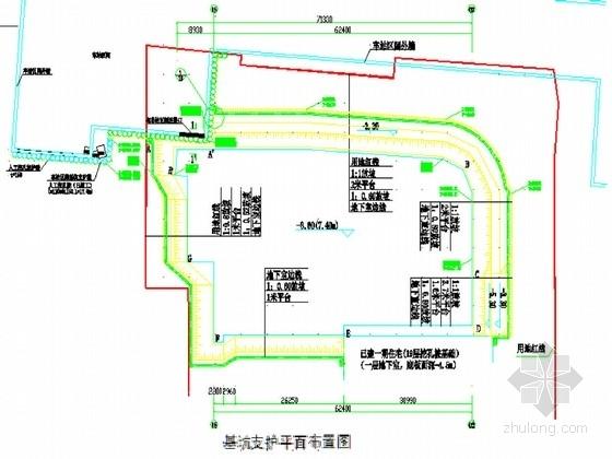 深度8.4米基坑支护结构设计图(搅拌桩 土钉墙)