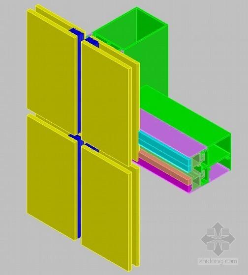隐框玻璃幕墙三维装配图(CAD格式)