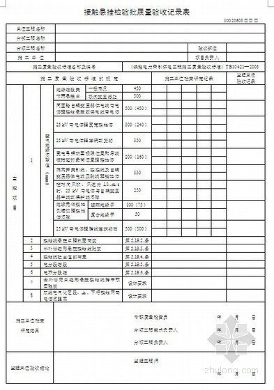 某铁路电力牵引供电工程质量验收记录表