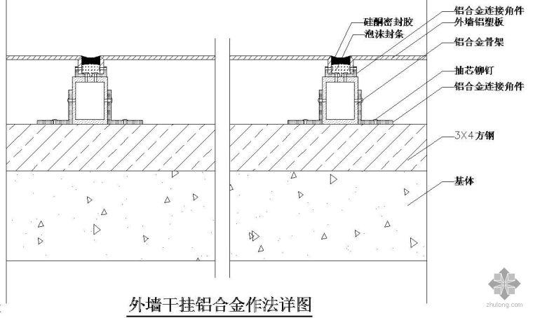 某外墙干挂铝合金作法节点构造详图