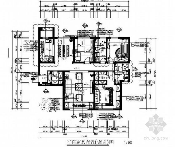 [原创]新古典主义风格三居室室内报审施工图
