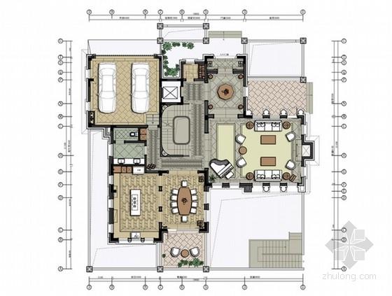 [江苏]两层美式风格高尔夫别墅样板间室内装修设计方案