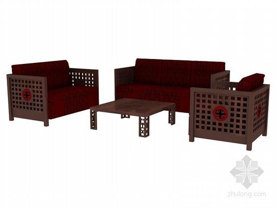 仿古沙发茶几组合3D模型下载