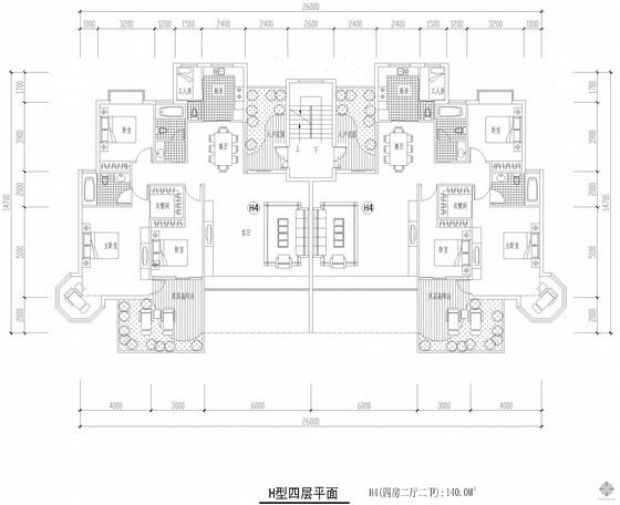 板式多层一梯二户四房二厅二卫户型图(140/140)