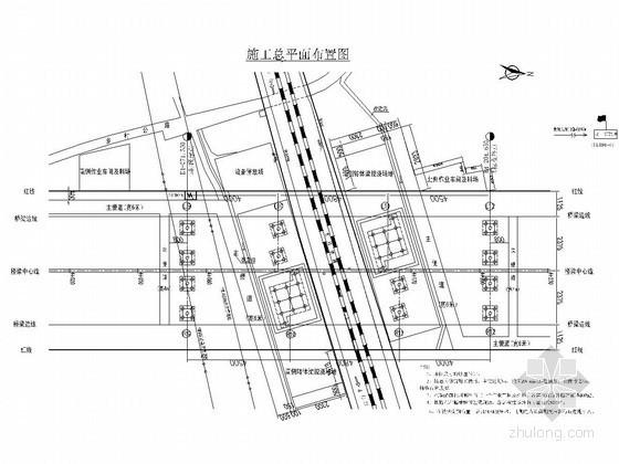 跨铁路转体桥施工现场总平面布置图CAD