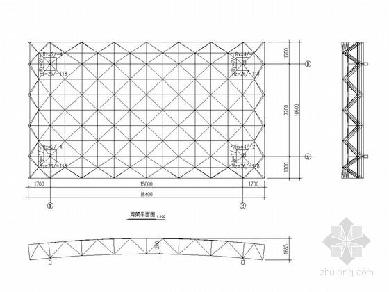 [江苏]双层螺栓球节点正放四角锥网架结构加油站结构图