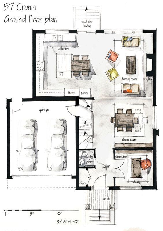分享几张手绘图平面布置图 室内设计 筑龙室内设计论坛