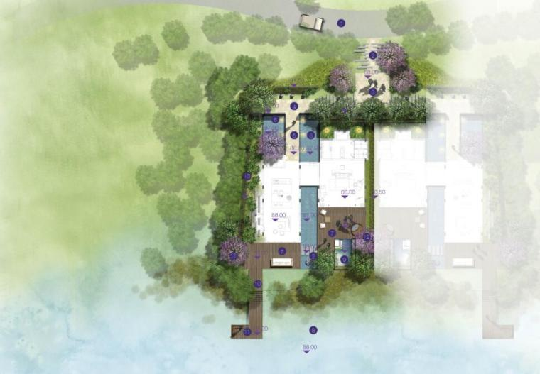 高端酒店景观设计——联排别墅平面图