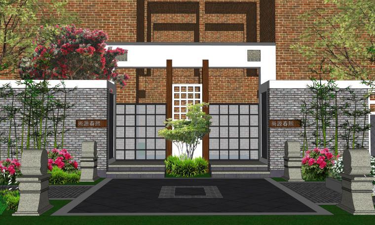 中式巷子景观SU模型——中式大门