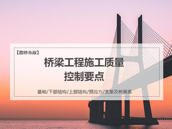 桥梁工程施工全过程质量控制要点之基础/下部结构/上部结构/预应力/支架及桥面系