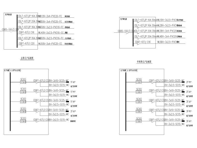 普通住宅电气设计图(包括:楼内照明、220/380V配电系统,防雷及接地保护,电话电视防盗对讲网络系统,等电位联结)