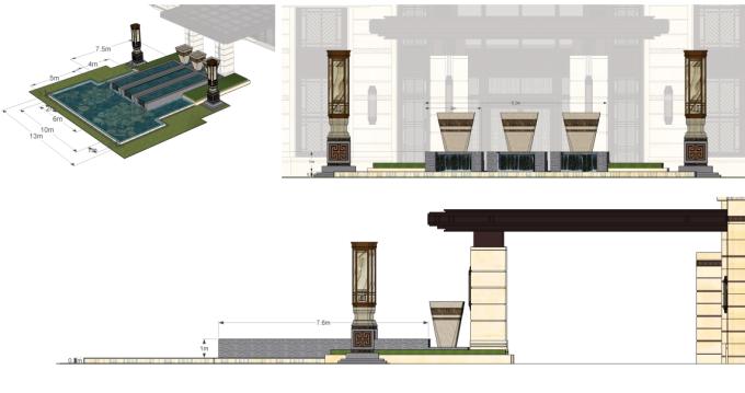 [江西]新中式东方盛唐帝景深宅庭院景观规划设计方案-特色水景设计详图