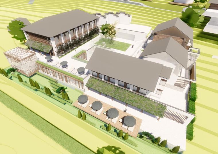 太湖农庄山地中式民宿改造建筑模型(2018年)