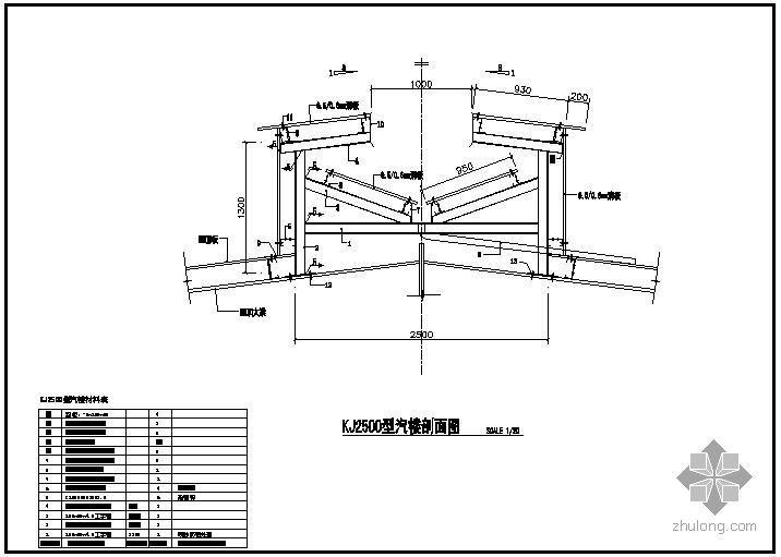 U型社区服务中心楼资料下载-某KJ2500型汽楼节点构造详图