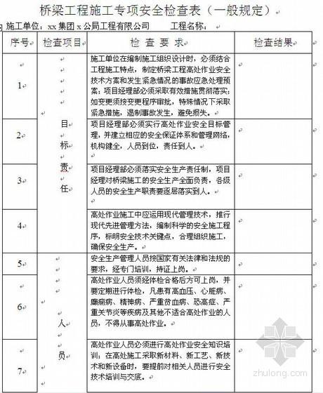 公路项目安全生产检查记录表填写范例