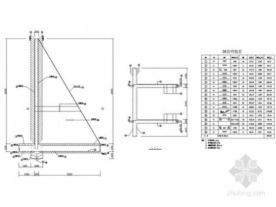 扶壁式挡土墙结构详图(1.6m~9m)