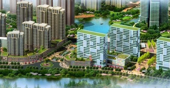 新中式高层住宅小区效果图