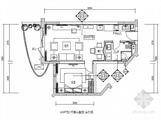 [海南]海滨度假中心时尚现代一居室样板房装修图(含效果)