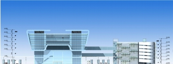 [深圳]高层简练立方体造型沿海口岸旅检大楼建筑设计方案文本-高层简练立方体造型沿海口岸旅检大楼建筑立面图