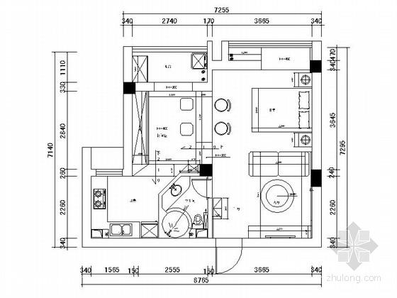 [湖北]超强收纳60平简欧风格一居室室内装修施工图(含实景效果)