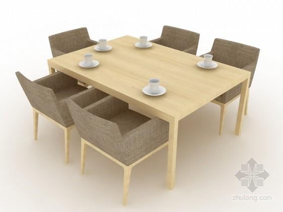 现代餐桌椅组合3d模型效果图
