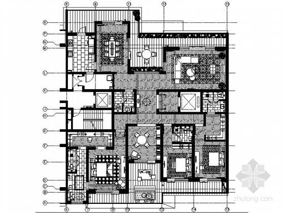 [西安]优雅现代经典四居室样板间室内装修施工图(含方案)