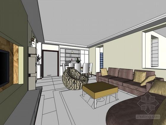 室内场景现代风格sketchup模型下载