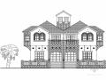 [三亚]某二层双拼别墅建筑方案图(387平方米)