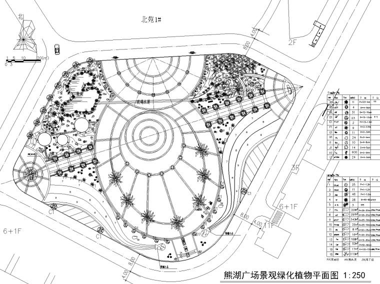 熊湖广场绿化植物定位放线图和总平面广场材质CAD施工图