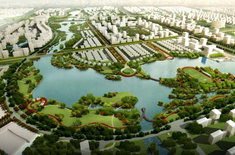 [江苏]南通市经济技术开发区核心区域景观规划(带状,水绿渗透)-A02总鸟瞰图