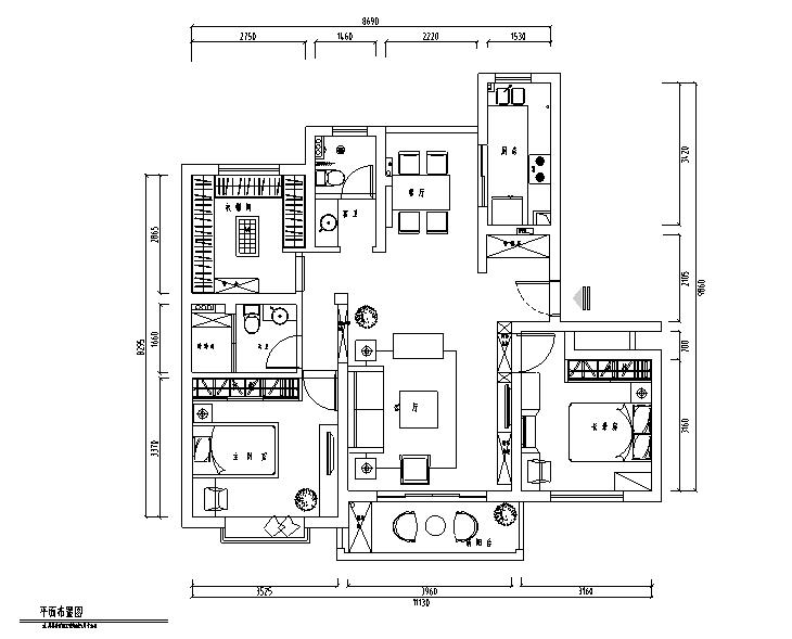 简约清雅现代简约三居室住宅设计施工图(附效果图)