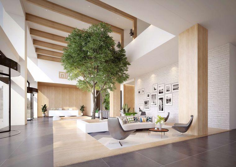现代简洁风小米之家办公大堂空间设计3D模型(附效果图)