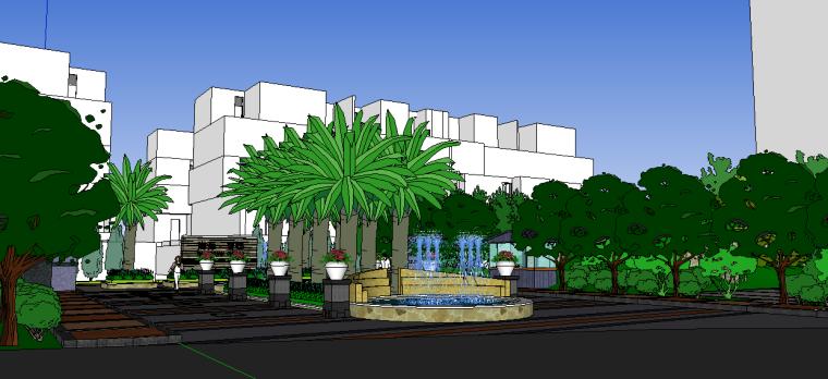 现代居住区入口景观模型 2