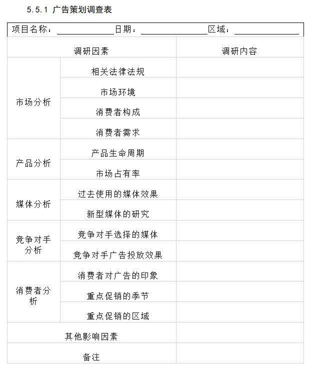 广告策划调查表