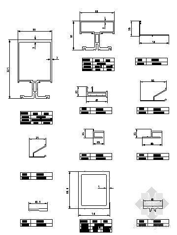 U型玻璃幕墙隔断资料下载-180系列(D型)隐框玻璃幕墙型材图