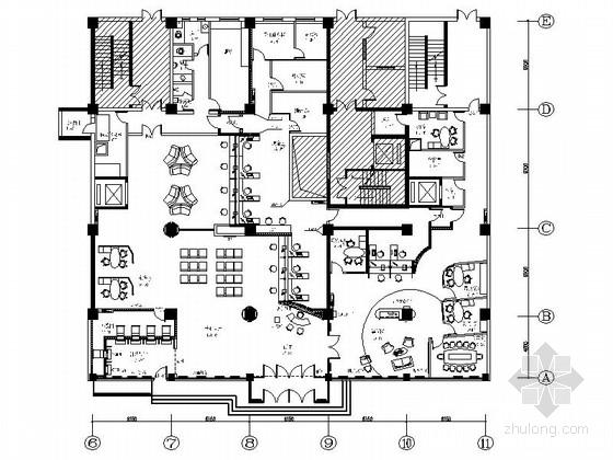 [北京]高档综合金融服务中心支行装修CAD施工图(含效果)